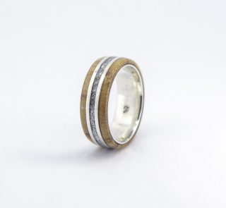 Wooden Ring - SIlver Leaf and Wild Olive